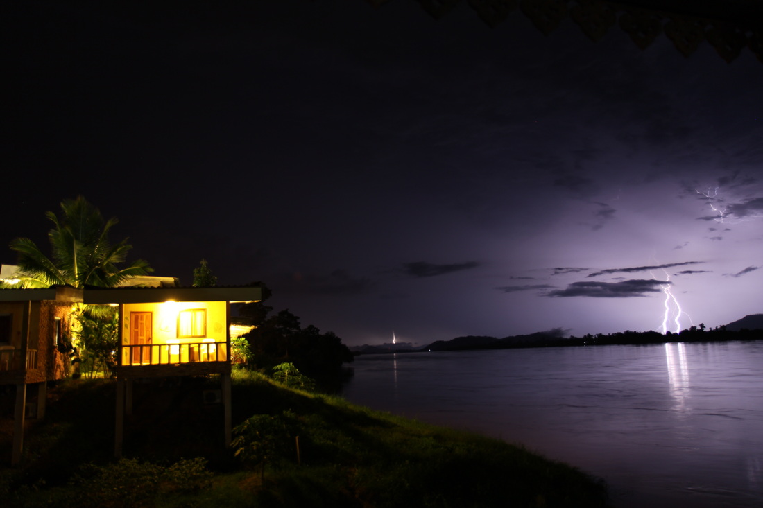 Thunderstorm over Mekong river Thailand