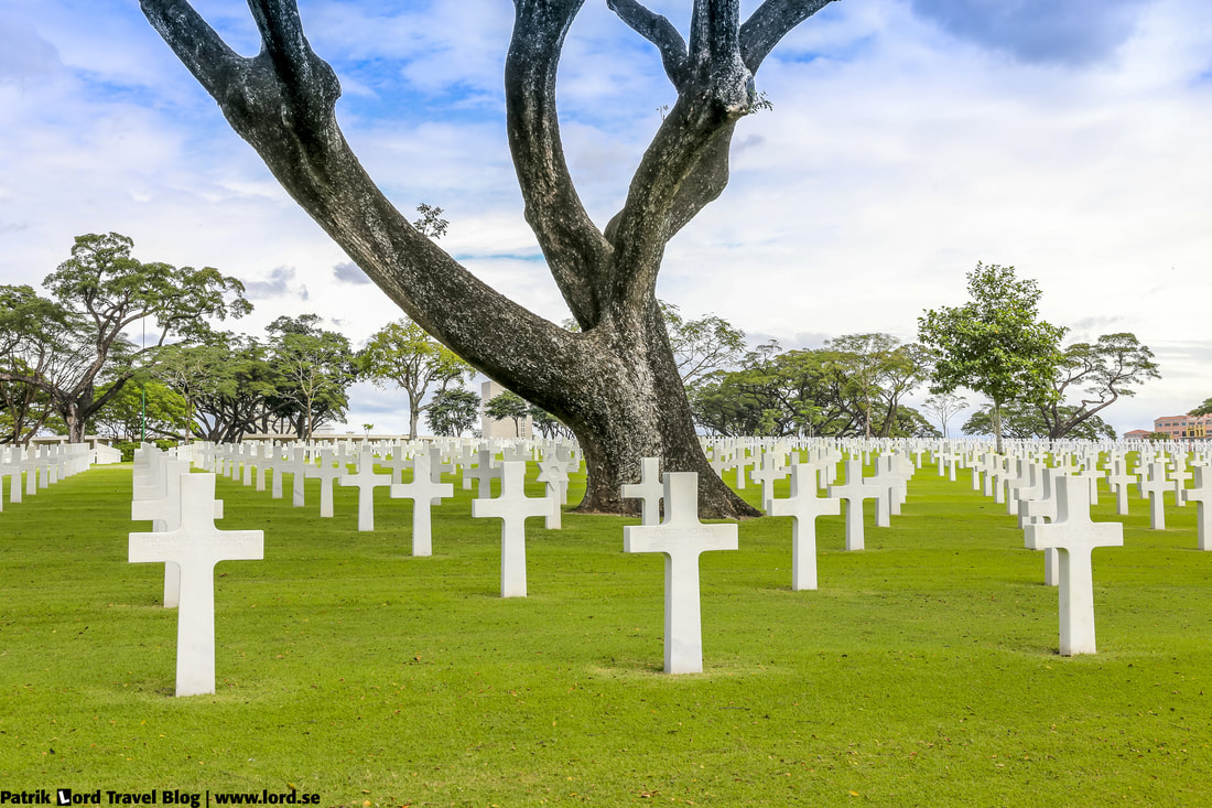 Manila American Cemetery, Headstones and a big tree, Manila, Philippines © Patrik Lord Travel Blog