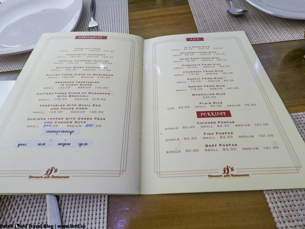 Review of JJ's Dimsum and Restaurant, The main menu, Bohol Philippines © Patrik Lord Travel Blog