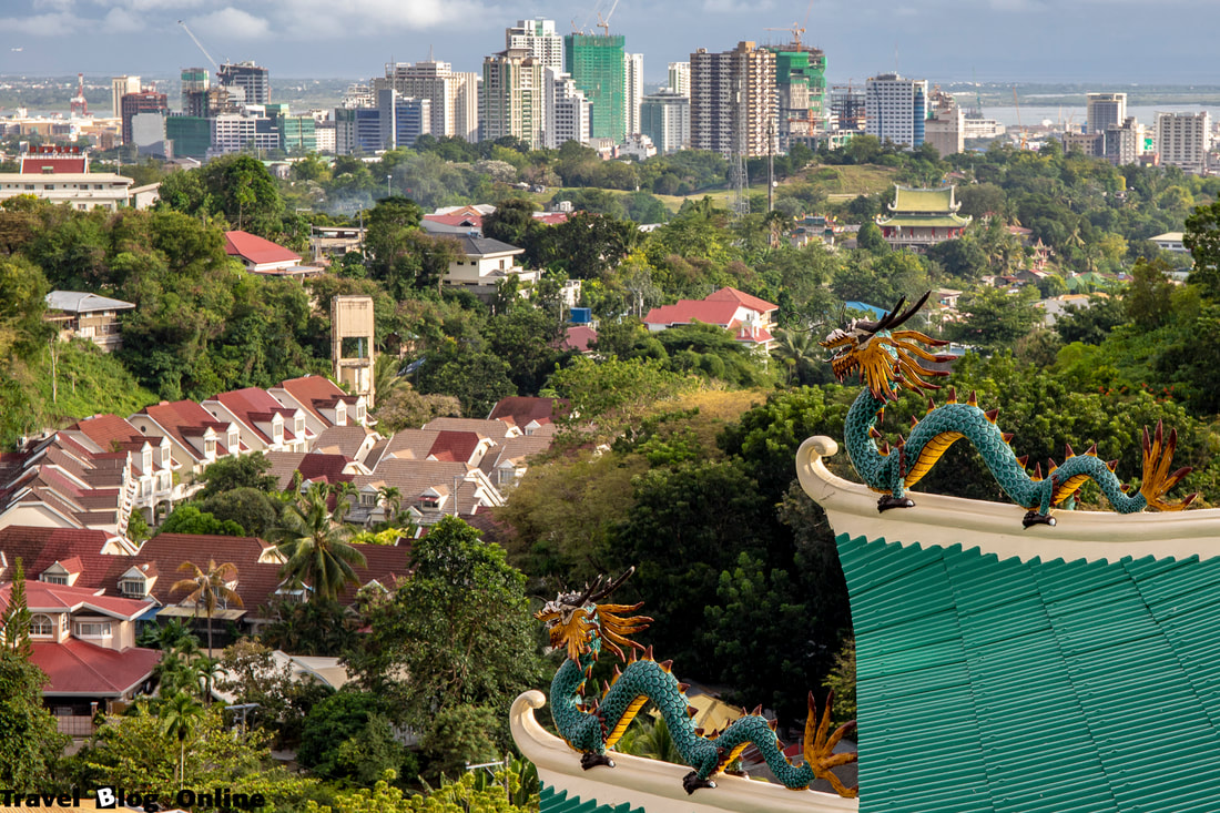 Cebu Taoist Temple, View and two dragons, Cebu City, Philippines © travelblogonline.com
