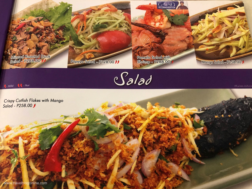 Soi Thai Restaurant, Robinsons Place, Ermita, Manila, Philippines, the menu