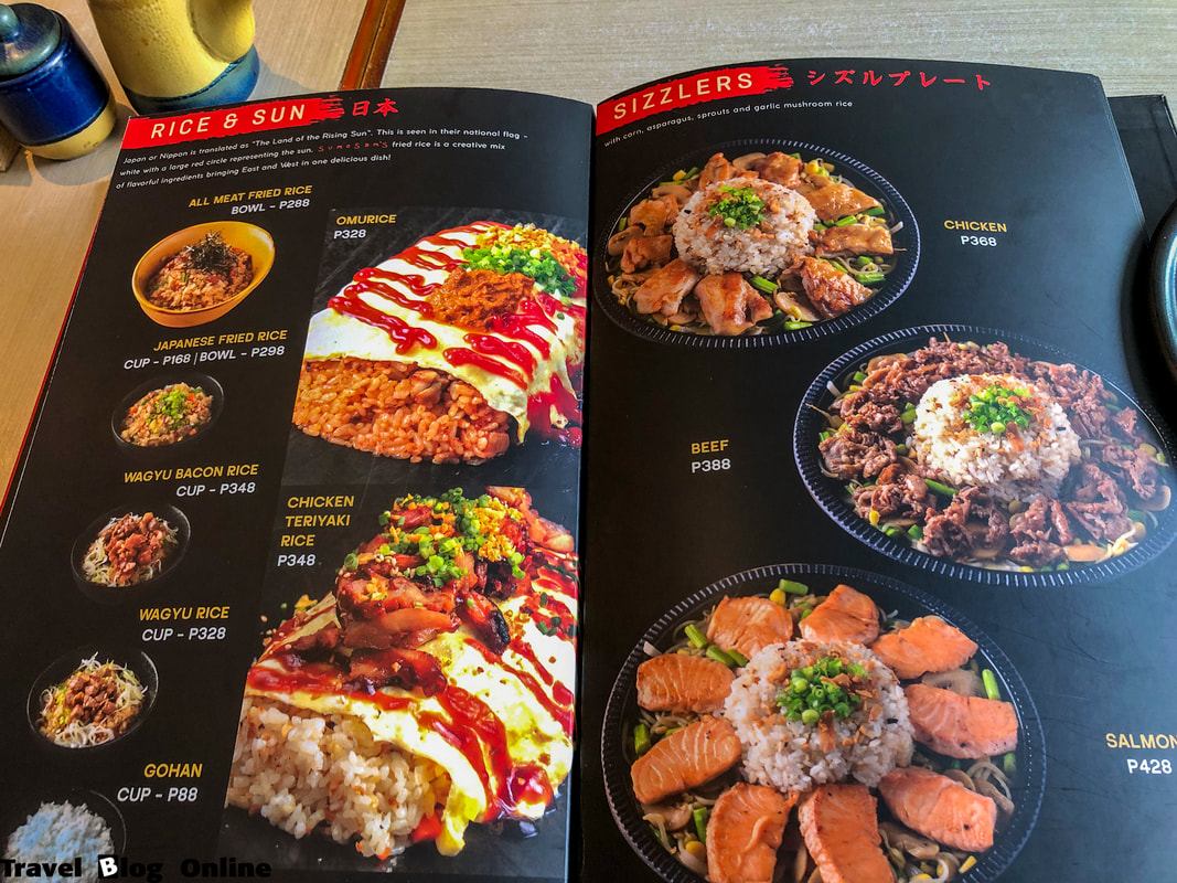 SumoSam Restaurant, The menu, Ayala Center Cebu City, Philippines © travelblogonline.com